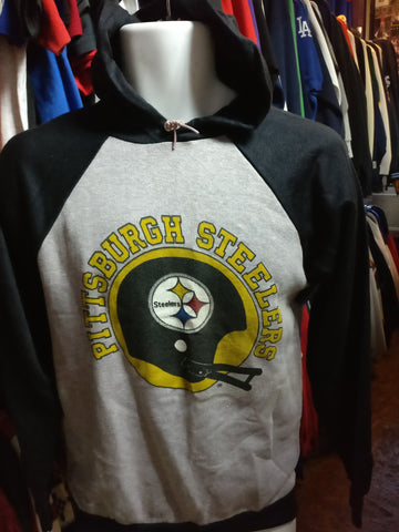 Vintage 80s PITTSBUGH STEELERS NFL Two Tone Hooded Sweatshirt YXL - #XL3VintageClothing
