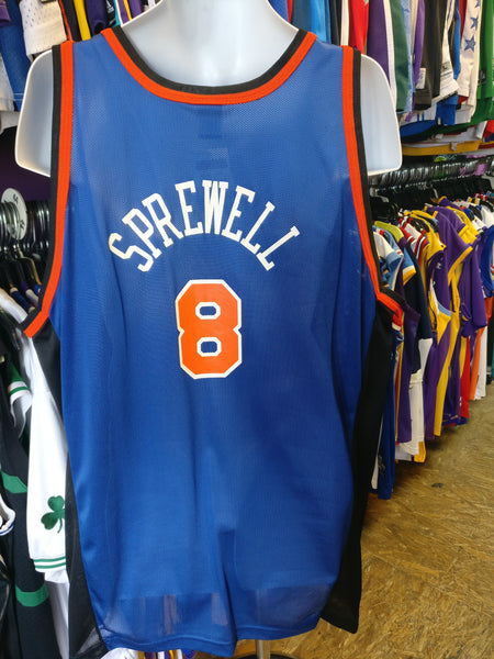 Vtg #8 LATRELL SPREWELL New York Knicks Champion Jersey 52 (Deadstock) - #XL3VintageClothing
