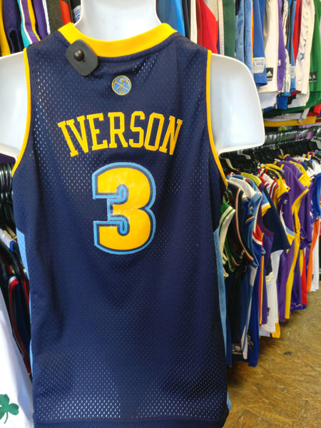 reputable site 612bb 0d147 Vintage #3 ALLEN IVERSON Denver Nuggets NBA Adidas Authentic Jersey YL