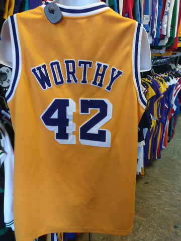 Vtg'84#42 JAMES WORTHY Los Angeles Lakers NBA Mitchell & Ness Jersey50