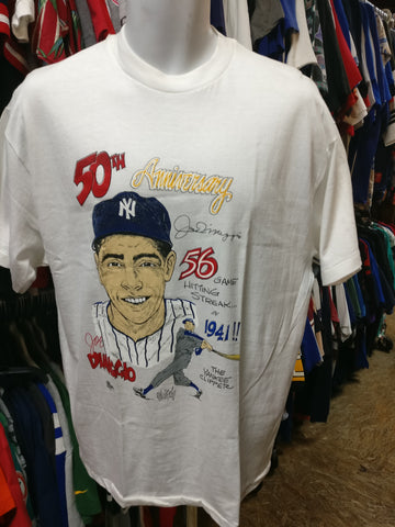 Vtg'91#5 JOE DIMAGGIO New York Yankees Caricature T-Shirt L(Deadstock)