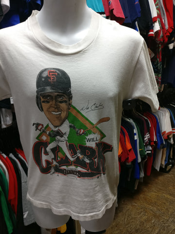 Vtg '89 #22 WILL CLARK San Francisco Giants MLB Caricature T-Shirt S