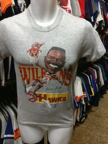 Vtg 80s #21 DOMINIQUE WILKINS Atlanta Hawks NBA Caricature T-Shirt S