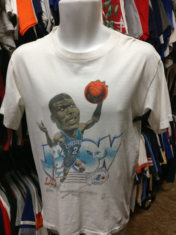 Vintage '91 #2 LARRY JOHNSON Charlotte Hornets NBA Caricature TShirt S