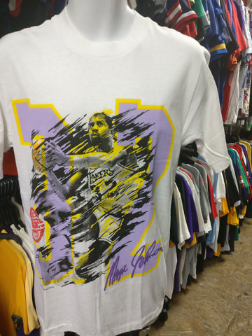 Vtg '89 #32 MAGIC JOHNSON Los Angeles Lakers NBA T-Shirt M (Deadstock)