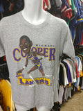 Vtg '87 #21 MICHAEL COOPER Los Angeles Lakers NBA Caricature T-Shirt L