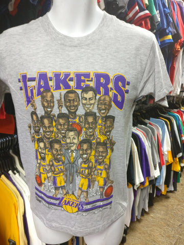 Vintage '92 LOS ANGELES LAKERS NBA Caricature T-Shirt S (Deadstock)