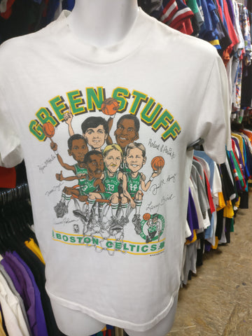 Vtg 80s BOSTON CELTICS NBA Green Stuff Caricature T-Shirt M