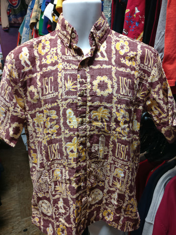 Vintage USC TROJANS NCAA Ke Nui Cotton Hawaiian Shirt S