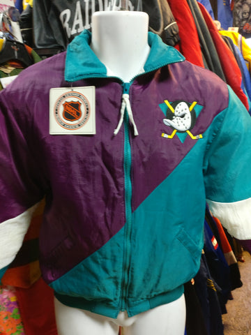 Vtg 90s ANAHEIM MIGHTY DUCKS NHL Swingster Nylon Jacket YL (Deadstock)