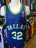 Vtg#32 JAMAL MASHBURN Dallas Mavericks NBA Champion Jersey 40Deadstock