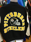 Vtg80s PITTSBURGH STEELERS NFL Back Patch Chalk Line Varsity Jacket XL