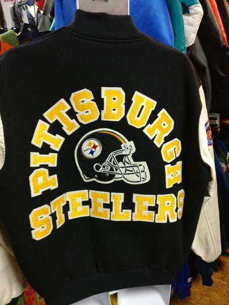 official photos c6861 6b35a Vtg80s PITTSBURGH STEELERS NFL Back Patch Chalk Line Varsity Jacket XL