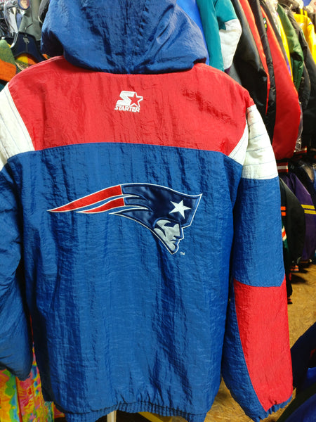 big sale for whole family first look Vtg 2000s NEW ENGLAND PATRIOTS NFL Back Patch Starter Hooded Jacket XL