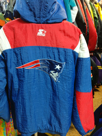 Vtg 2000s NEW ENGLAND PATRIOTS NFL Back Patch Starter Hooded Jacket XL