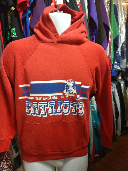 Vintage 80s NEW ENGLAND PATRIOTS NFL Hooded Sweatshirt S
