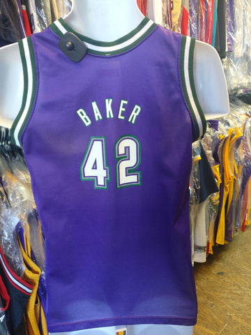 Vintage #42 VIN BAKER Milwaukee Bucks NBA Champion Jersey YL