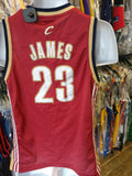 Vtg#23 LEBRON JAMES Cleveland Cavaliers NBA Reebok Authentic Jersey YL