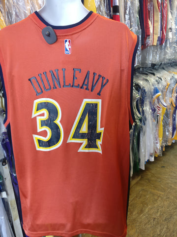 Vtg #34 MIKE DUNLEAVY Golden State Warriors NBA Reebok Jersey L