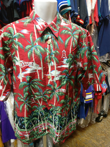 Vintage ANAHEIM ANGELS MLB Reyn Spooner Cotton Hawaiian Shirt L