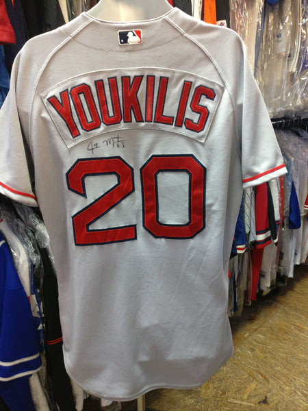 Vtg#20KEVIN YOUKILIS Boston Red Sox Majestic Authentic Jersey44(Signed