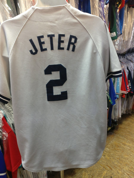 Vintage #2 DEREK JETER New York Yankees MLB Russell Athletic Jersey L