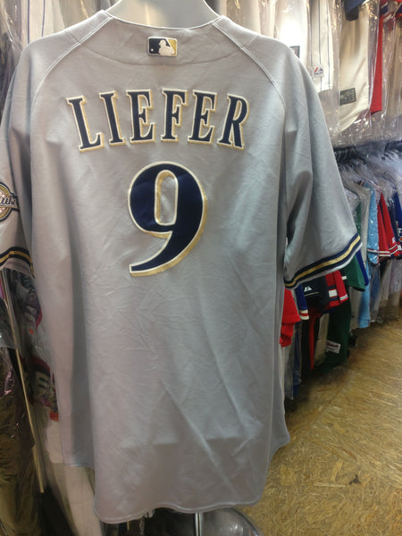 Vtg #9 JEFF LIEFER Milwaukee Brewers MLB Majestic Authentic Jersey 50
