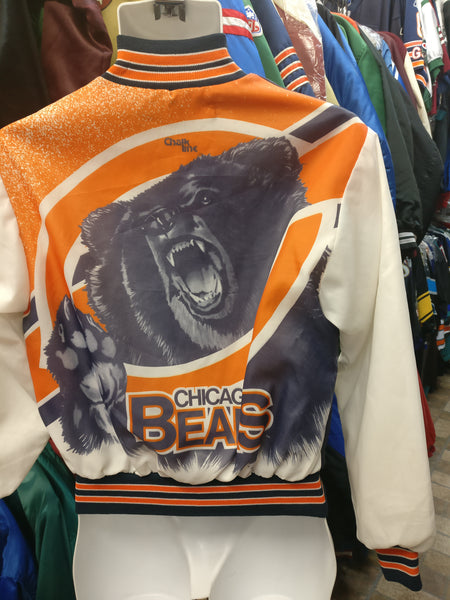Vintage 80s CHICAGO BEARS NFL Chalk Line Fanimation Jacket 14-16