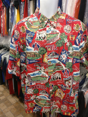 Vtg '02 ANAHEIM ANGELS MLB World Series Reyn Spooner Hawaiian Shirt XL