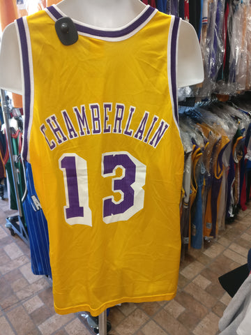 Vtg 13 WILT CHAMBERLAIN Los Angeles Lakers Champion Gold Logo Jersey48 5e289232c