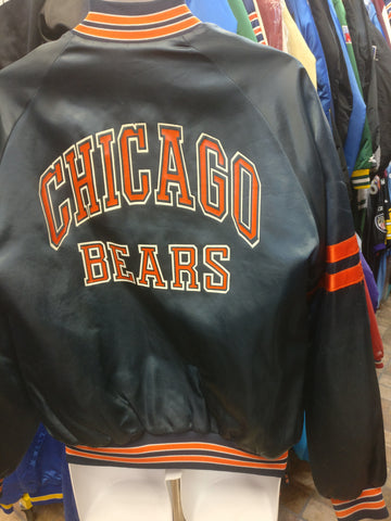 Vintage 80s CHICAGO BEARS NFL Chalk Line Back Print Nylon Jacket M