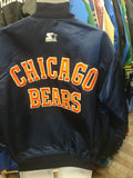 Vintage 90s CHICAGO BEARS NFL Starter Back Patch Nylon Jacket L