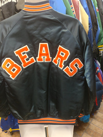 Vintage 80s CHICAGO BEARS NFL Chalk Line Back Patch Nylon Jacket L