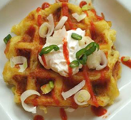 "Savory Cheddar-Mashed Potato ""Latke"" Waffles with Garlic Olive Oil"