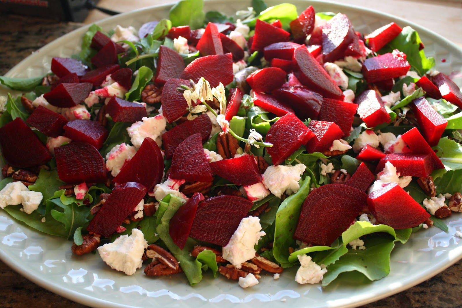 Roasted Beet Salad with Fresh Goat Cheese and Toasted Pecans (Blood Orange Olive Oil and Cranberry-Pear White Balsamic)