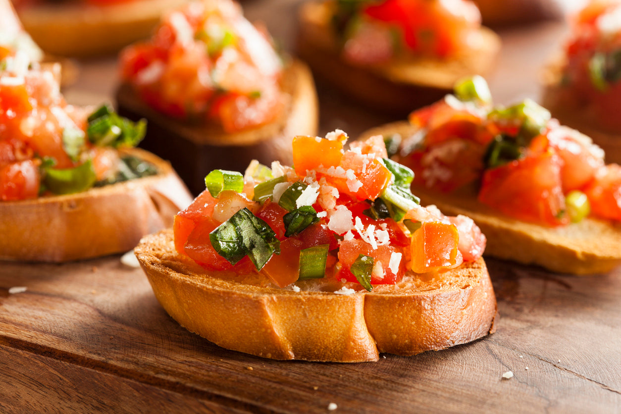 Tomato Basil Bruschetta With Basil Olive Oil & Traditional Balsamic