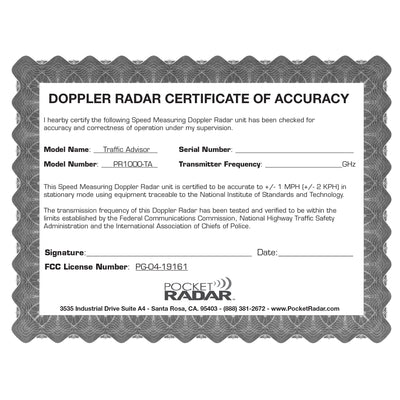 Traffic Advisor Radar™ (Model PR1000-TA)