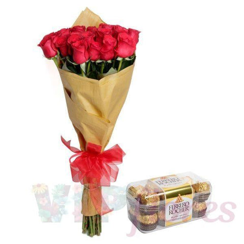 24 Rosas en Bouquet + Chocolates