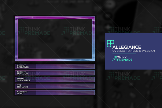 Twitch Overlay with Title panels move-able & webcam