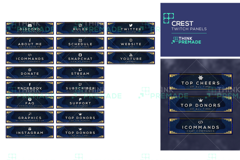 Crest Panels - Twitch Panels - Stream Graphics - ThinkPremade