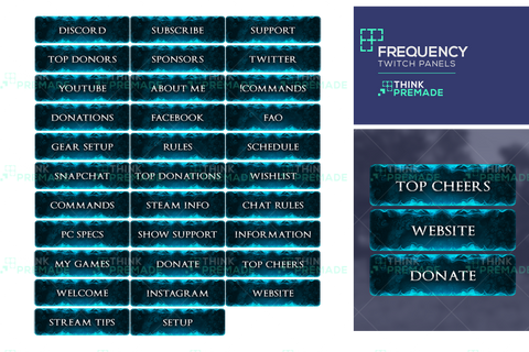 Frequency Panels - Twitch Panels - Stream Graphics - ThinkPremade
