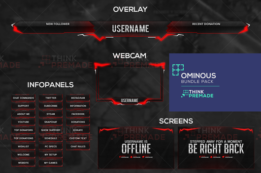 Ominous Bundle Pack (Red) - Twitch Bundles - Stream Graphics - ThinkPremade
