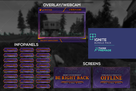 Twitch Streamer Bundle Package - Purple and orange theme - Ignite