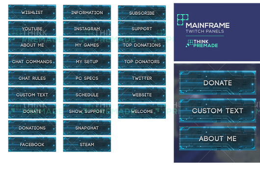 Mainframe Panels - Twitch Panels - Stream Graphics - ThinkPremade