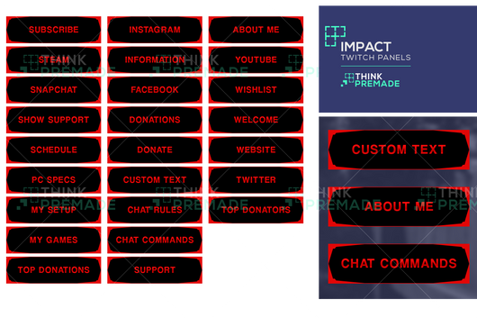 Impact Panels - Twitch Panels - Stream Graphics - ThinkPremade