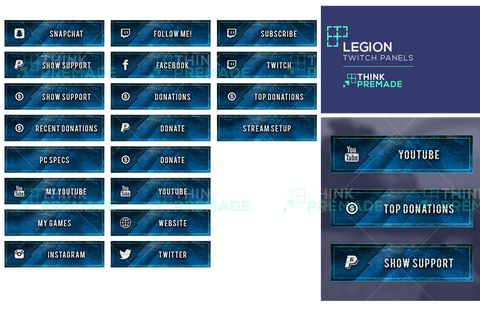 Legion Twitch Panels Blue with icons