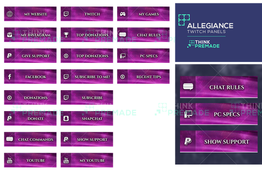 Twitch Panels Pink Themed