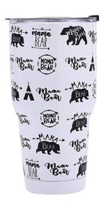Mama Bear Stainless Steel Tumbler - White