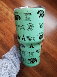 30 oz Mama Bear Stainless Steel Tumbler - Mint
