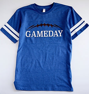 "Blue and white ""Gameday"" football tee shirt"